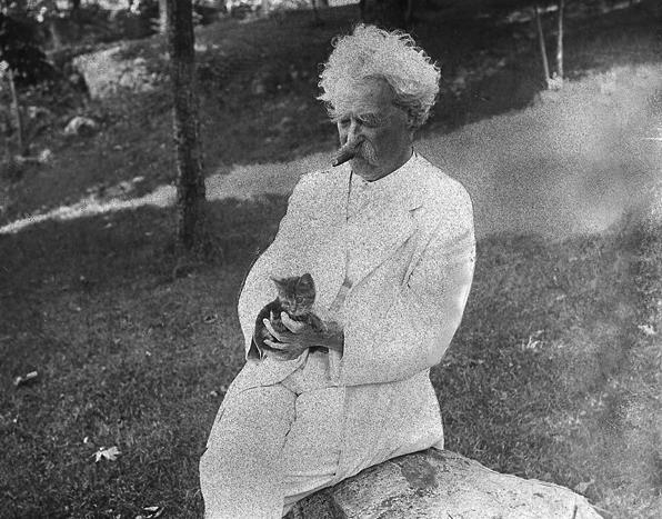 Mark Twain and his cat