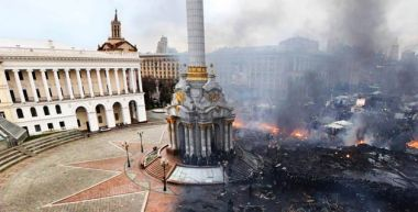 Independence Square in Kiev, Ukraine before and after the conflict