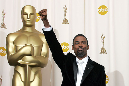 Chris Rock with the Black Power fist at the Oscars